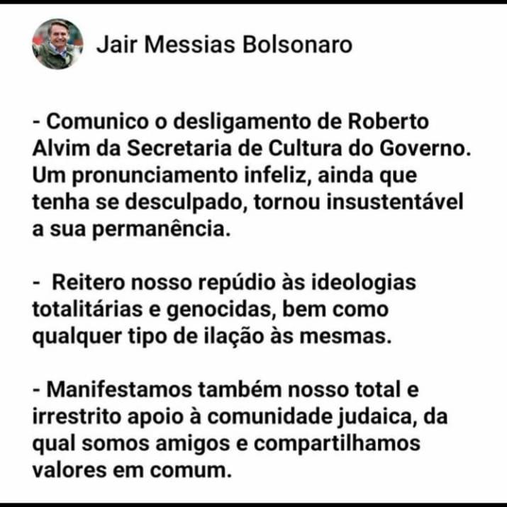 A Embaixada de Israel no Brasil divulgou nota nesta sexta-feira